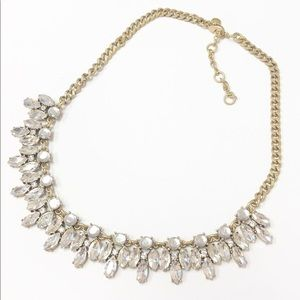 J Crew statement necklace clear crystals